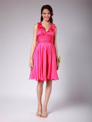 Chiffon Empire V-neck Knee-length Ruffles Bridesmaid Dresses #PDS02042140