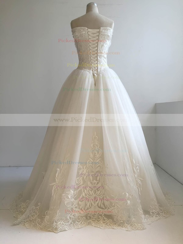 Ball Gown V-neck Floor-length Tulle with Beading Wedding Dresses #PDS00022955