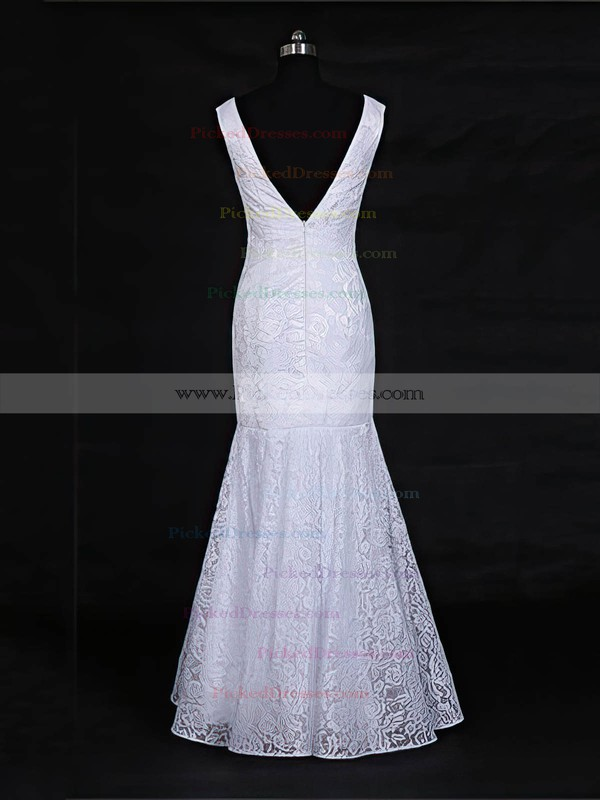 Trumpet/Mermaid V-neck Floor-length Lace with Ruffles Wedding Dresses #PDS00022956