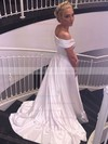 A-line Off-the-shoulder Sweep Train Satin with Ruffles Wedding Dresses #PDS00022957