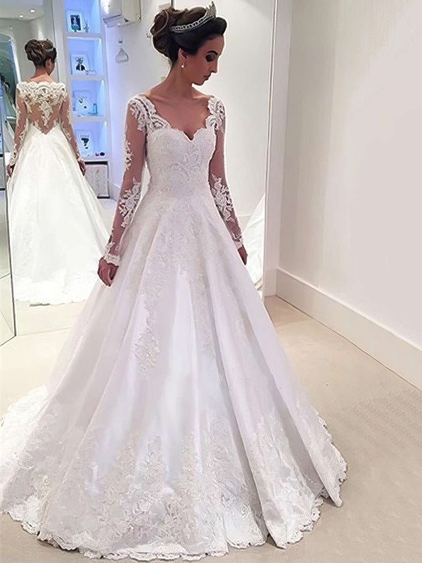 Ball Gown V-neck Sweep Train Satin Tulle with Appliques Lace Wedding Dresses #PDS00022958