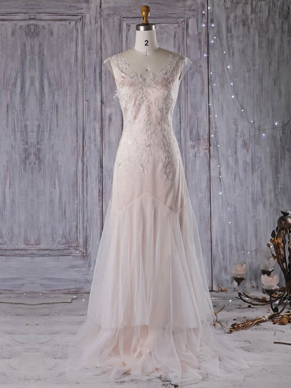 A-line V-neck Sweep Train Tulle with Appliques Lace Wedding Dresses #PDS00022959