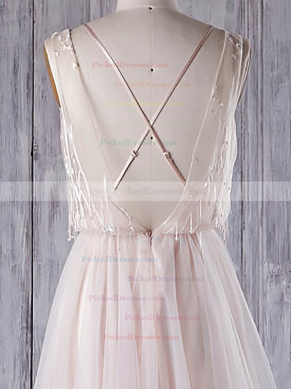 A-line V-neck Sweep Train Tulle with Appliques Lace Wedding Dresses #PDS00022960