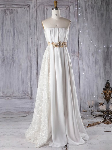 Empire Strapless Floor-length Lace Chiffon with Sashes / Ribbons Wedding Dresses #PDS00022961