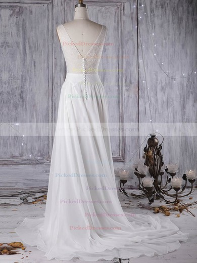 A-line Scoop Neck Sweep Train Tulle Chiffon with Lace Wedding Dresses #PDS00022963