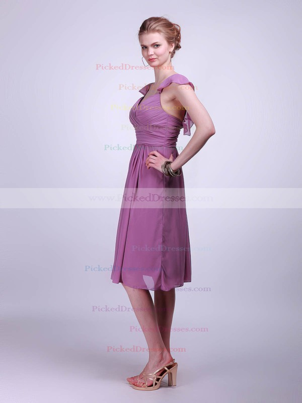 Chiffon A-line Straps Knee-length Pleats Bridesmaid Dresses #PDS02042142