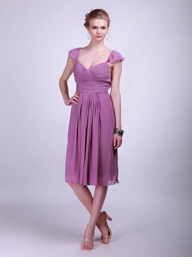 Chiffon A-line Straps Knee-length Pleats Bridesmaid Dresses #PDS02042142