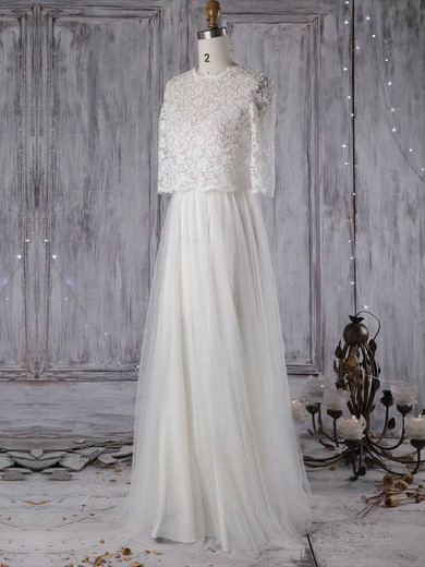 A-line Scoop Neck Sweep Train Lace Tulle with Pearl Detailing Wedding Dresses #PDS00022965