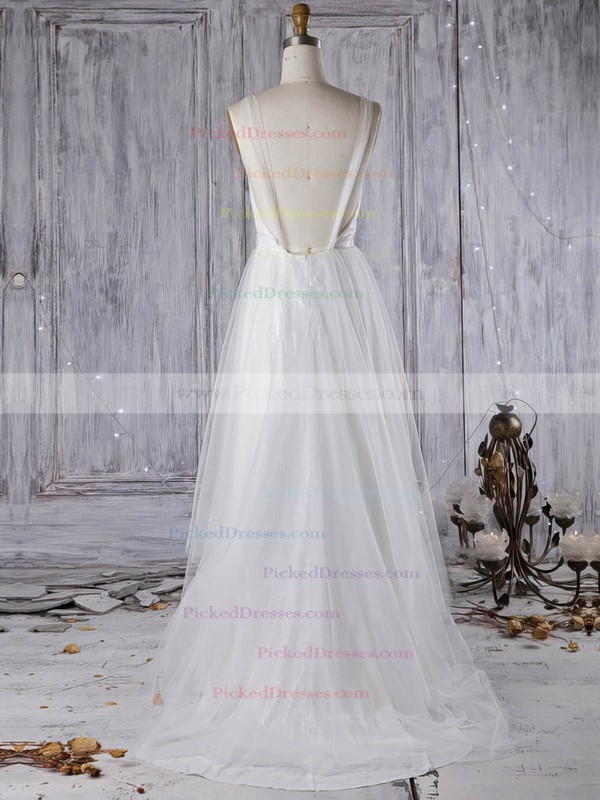 A-line V-neck Sweep Train Tulle with Sequins Wedding Dresses #PDS00022966
