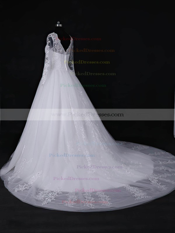 Ball Gown Scalloped Neck Court Train Tulle with Appliques Lace Wedding Dresses #PDS00022967
