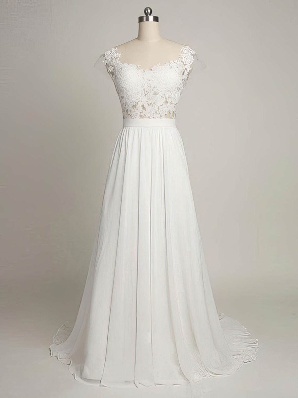 A-line Scoop Neck Sweep Train Tulle Chiffon with Appliques Lace Wedding Dresses #PDS00022968