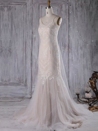 Trumpet/Mermaid V-neck Sweep Train Lace Tulle with Ruffles Wedding Dresses #PDS00022970