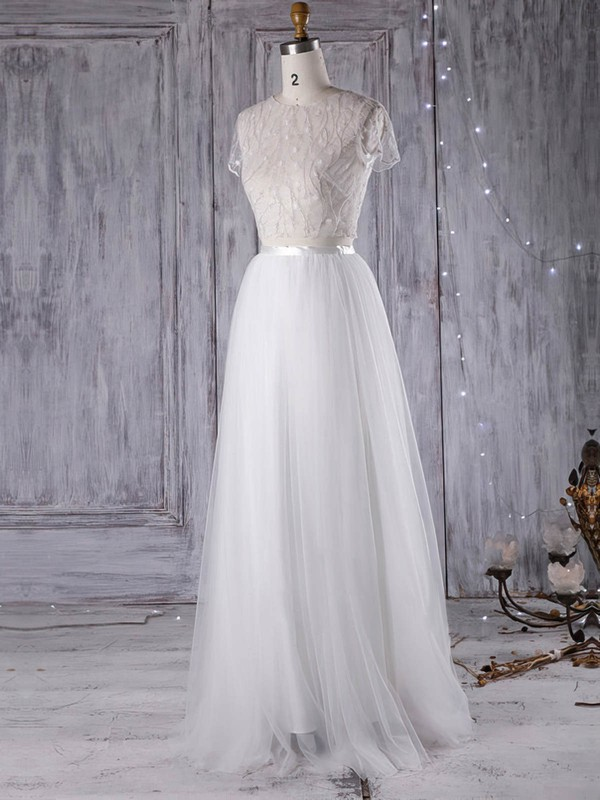 A-line Scoop Neck Floor-length Tulle with Sashes / Ribbons Wedding Dresses #PDS00022971