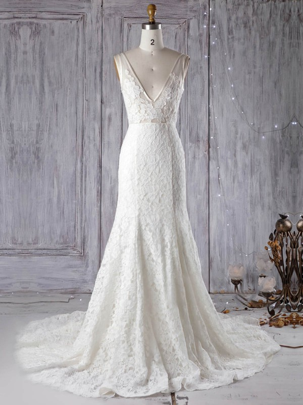 Trumpet/Mermaid V-neck Court Train Lace Tulle with Appliques Lace Wedding Dresses #PDS00022972