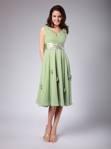 Chiffon A-line V-neck Tea-length Flower(s) Bridesmaid Dresses #PDS01012015