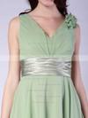 Chiffon A-line V-neck Tea-length Flower(s) Bridesmaid Dresses #PDS01012015