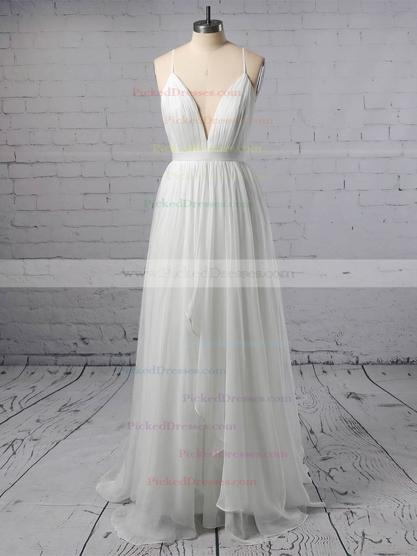 A-line V-neck Sweep Train Tulle with Sashes / Ribbons Wedding Dresses #PDS00022975