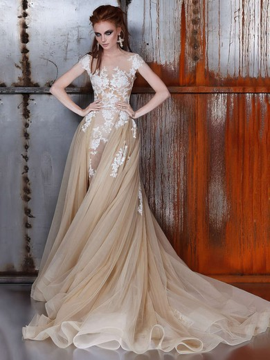Trumpet/Mermaid Scoop Neck Detachable Tulle with Appliques Lace Wedding Dresses #PDS00022976