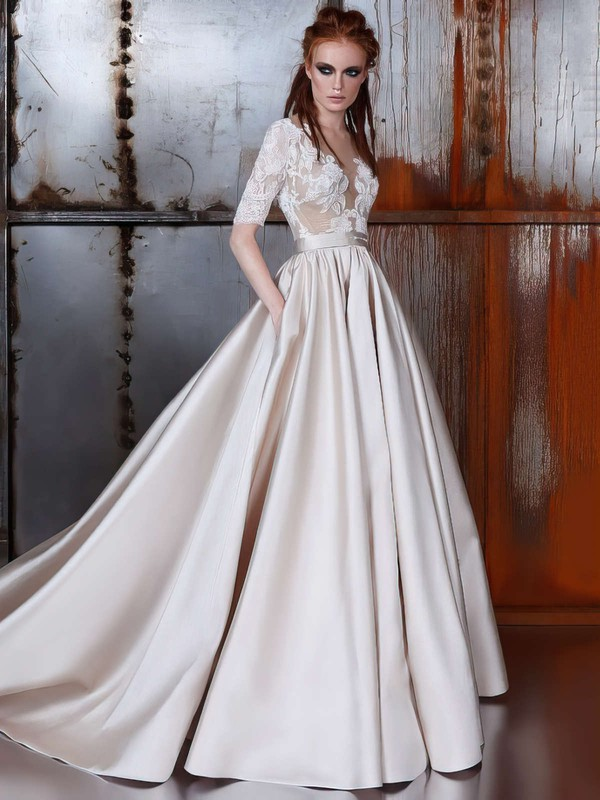 Ball Gown Scoop Neck Court Train Satin Tulle with Sashes / Ribbons Wedding Dresses #PDS00022977