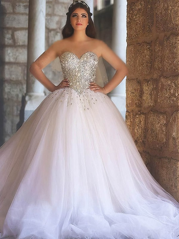 Ball Gown Sweetheart Court Train Tulle with Crystal Detailing Wedding Dresses #PDS00022979