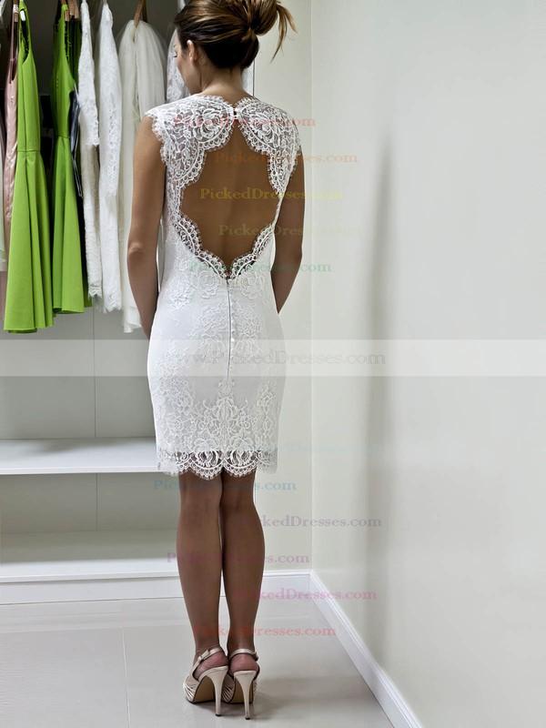 Sheath/Column Sweetheart Short/Mini Lace with Ruffles Wedding Dresses #PDS00022980