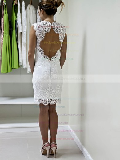Sheath/Column Sweetheart Short/Mini Lace with Ruffles Wedding Dresses #PDS00022980