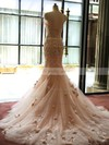 Trumpet/Mermaid Sweetheart Court Train Tulle with Appliques Lace Wedding Dresses #PDS00022981