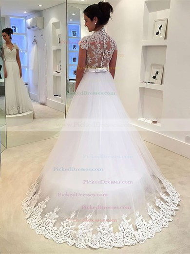 Princess V-neck Sweep Train Tulle with Sashes / Ribbons Wedding Dresses #PDS00022982