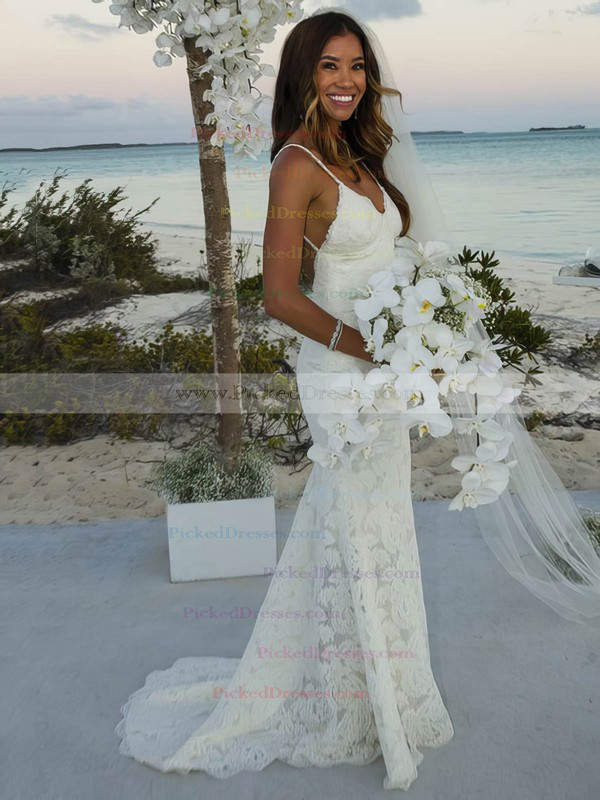 Trumpet/Mermaid V-neck Sweep Train Lace with Ruffles Wedding Dresses #PDS00022986