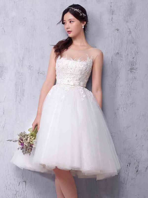 Princess Scoop Neck Knee-length Tulle with Sashes / Ribbons Wedding Dresses #PDS00022987