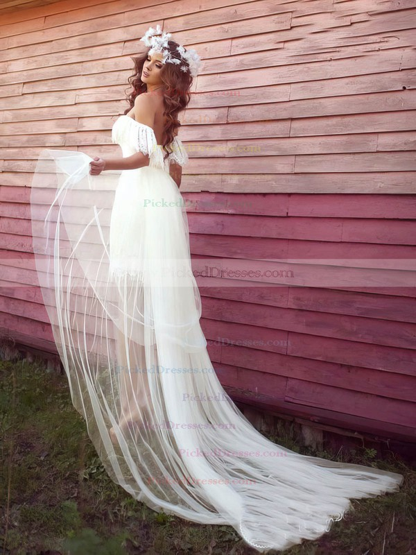 Sheath/Column Off-the-shoulder Asymmetrical Tulle Lace with Ruffles Wedding Dresses #PDS00022991