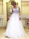 Princess Scoop Neck Sweep Train Tulle with Appliques Lace Wedding Dresses #PDS00022993