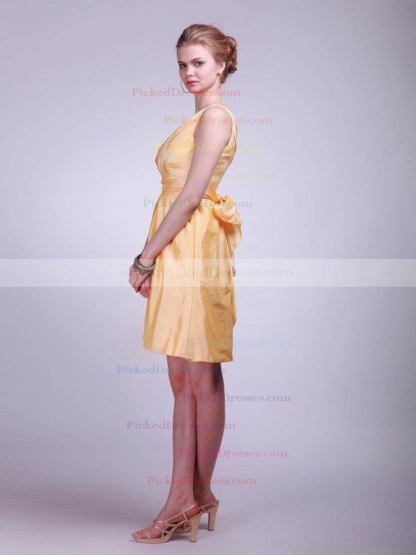 Taffeta A-line V-neck Short/Mini Ruffles Bridesmaid Dresses #PDS01012020