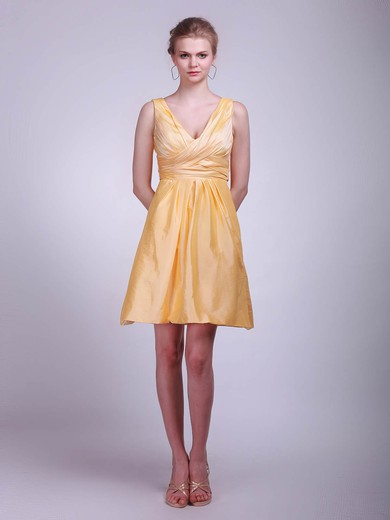 Taffeta A-line V-neck Short/Mini Ruffles Bridesmaid Dresses #PDS01012020