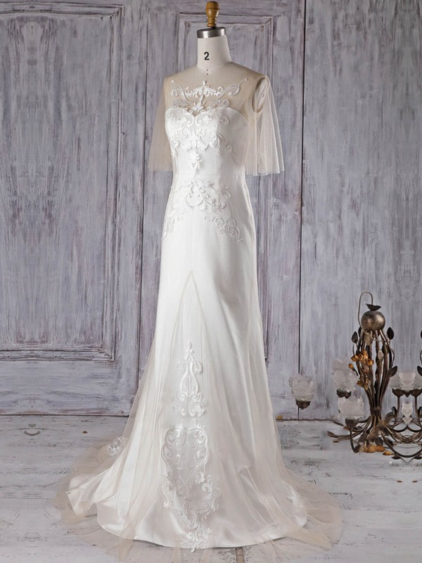 Trumpet/Mermaid Scoop Neck Sweep Train Satin Tulle with Appliques Lace Wedding Dresses #PDS00022997