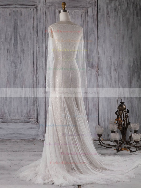 Trumpet/Mermaid V-neck Sweep Train Lace with Buttons Wedding Dresses #PDS00022998