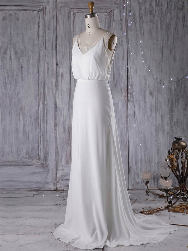 Sheath/Column V-neck Sweep Train Chiffon with Lace Wedding Dresses #PDS00023000