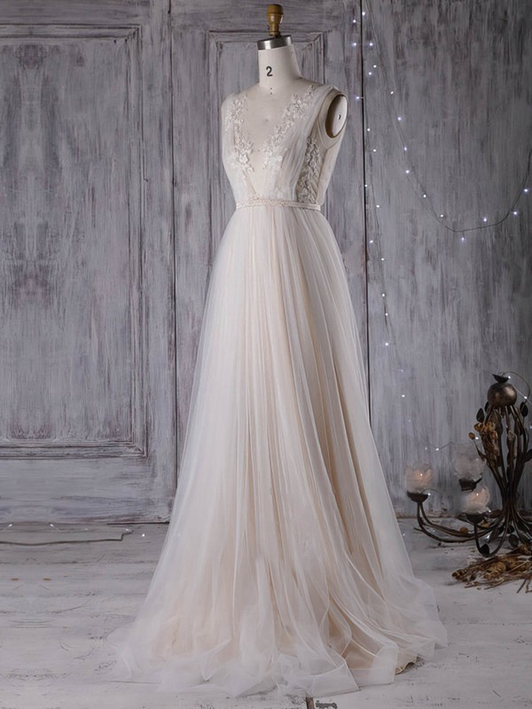 A-line V-neck Sweep Train Tulle with Sashes / Ribbons Wedding Dresses #PDS00023001