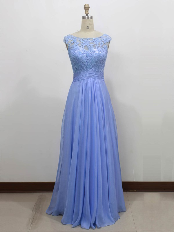 A-line Scoop Neck Floor-length Chiffon Tulle with Appliques Lace Bridesmaid Dresses #PDS01013434