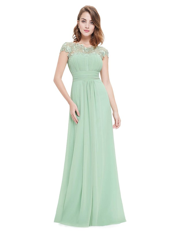 A-line Scoop Neck Floor-length Lace Chiffon with Pleats Bridesmaid Dresses #PDS01013435