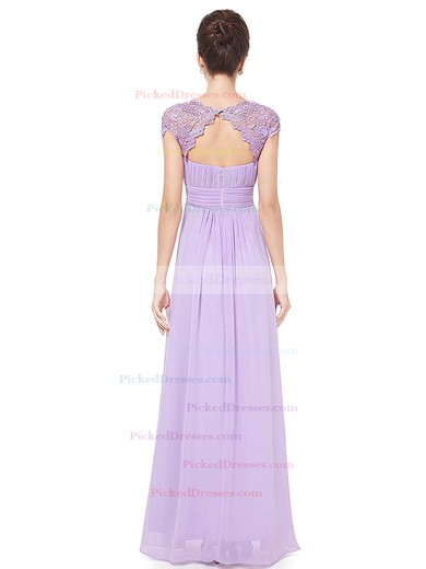 A-line Scoop Neck Floor-length Lace Chiffon with Pleats Bridesmaid Dresses #PDS01013436