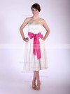Satin A-line Strapless Tea-length Sashes/Ribbons Bridesmaid Dresses #PDS01012029