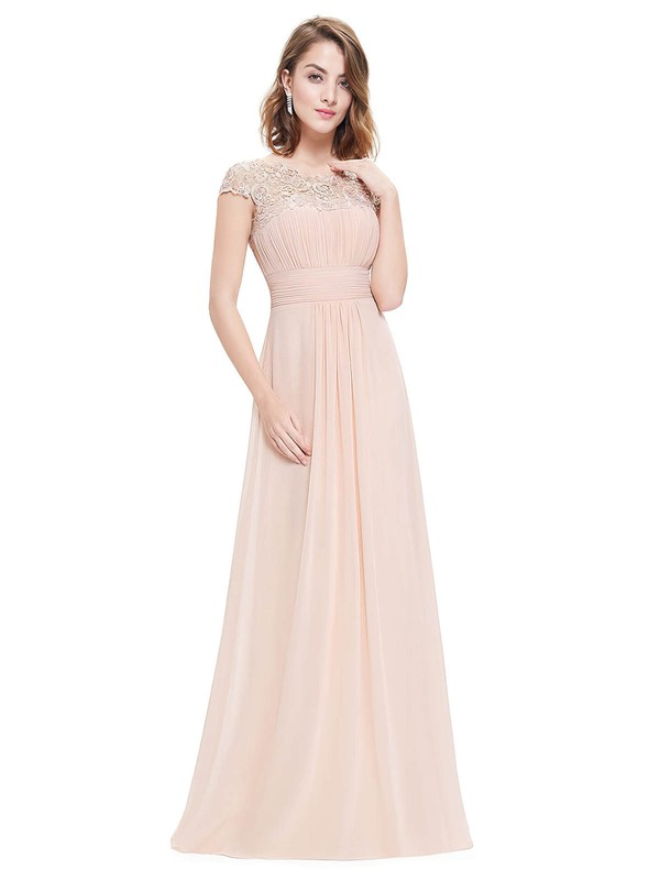 A-line Scoop Neck Floor-length Lace Chiffon with Pleats Bridesmaid Dresses #PDS01013437