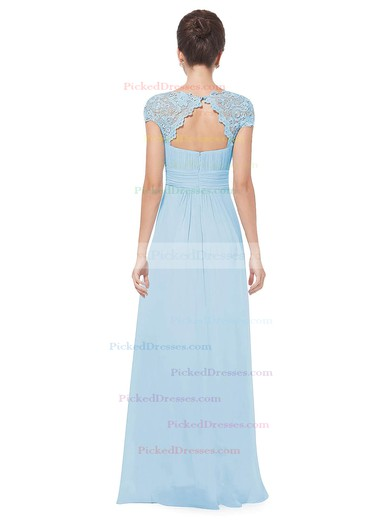 A-line Scoop Neck Floor-length Lace Chiffon with Pleats Bridesmaid Dresses #PDS01013438