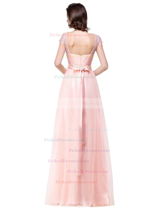 A-line Scoop Neck Floor-length Lace Tulle with Sashes / Ribbons Bridesmaid Dresses #PDS01013439