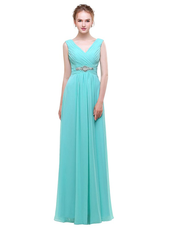 A-line V-neck Floor-length Chiffon with Beading Bridesmaid Dresses #PDS01013440