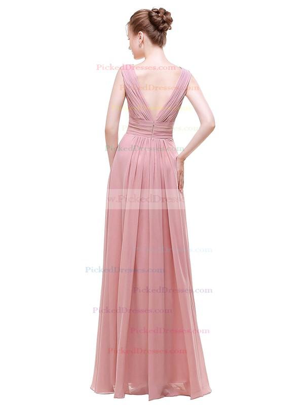 A-line V-neck Floor-length Chiffon with Beading Bridesmaid Dresses #PDS01013441