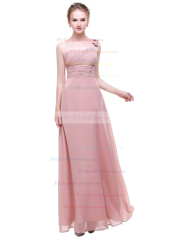 A-line One Shoulder Floor-length Chiffon with Flower(s) Bridesmaid Dresses #PDS01013442