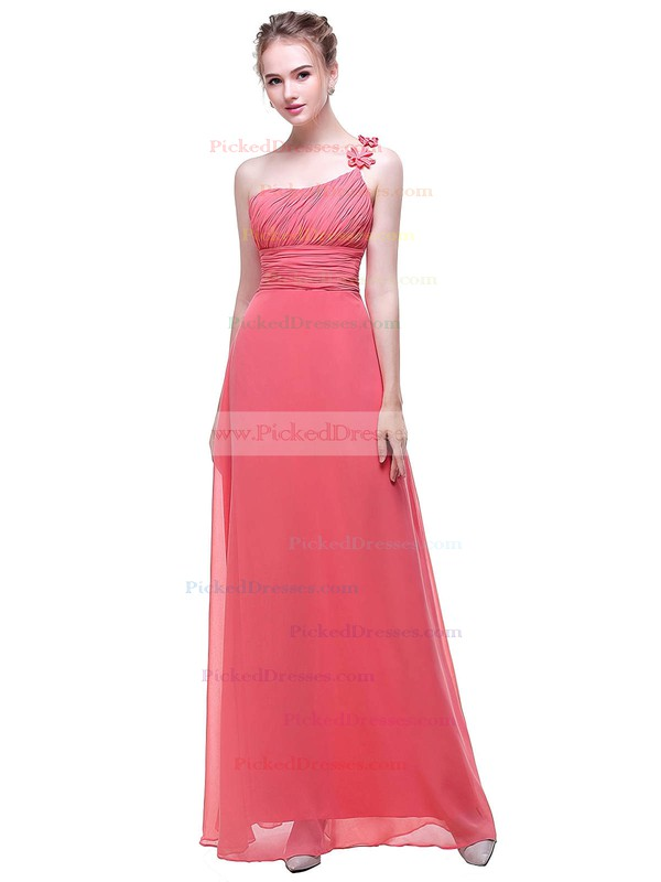 A-line One Shoulder Floor-length Chiffon with Flower(s) Bridesmaid Dresses #PDS01013443