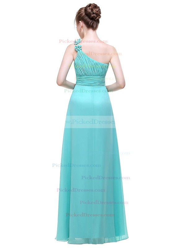 A-line One Shoulder Floor-length Chiffon with Flower(s) Bridesmaid Dresses #PDS01013444